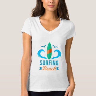 T - shirt Mujer Blanco Cuello V Surf Camiseta