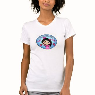 Camiseta Mujer Soy Muuy Flamenca Celeste y Rosa