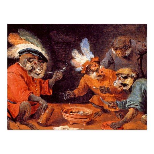 Taberna del mono:  Postal del arte del vintage
