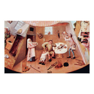 Tabla con escenas del detalle de siete pecados mor impresiones