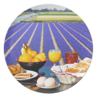 Tabla con la comida y bebida cerca del campo de plato
