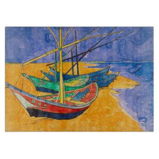 Tabla De Cortar Barcos de Van Gogh en la playa de Saintes-Maries