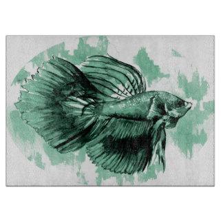 Tabla de cortar decorativa de los pescados de