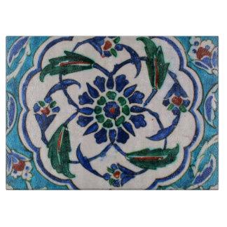 Tabla De Cortar Diseño floral azul y blanco de la teja de la era