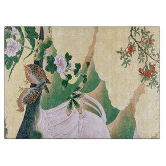 Tabla De Cortar La cascada del pájaro de la paloma del asiático