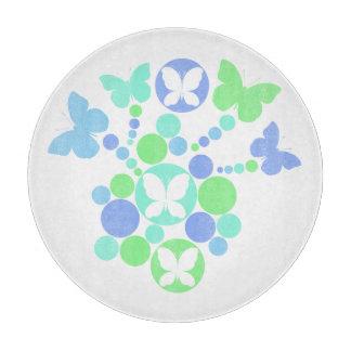Tabla De Cortar Mariposas azulverdes en colores pastel modernas de
