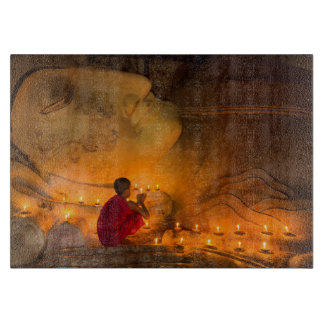 Tabla De Cortar Monje que ruega por un Buda