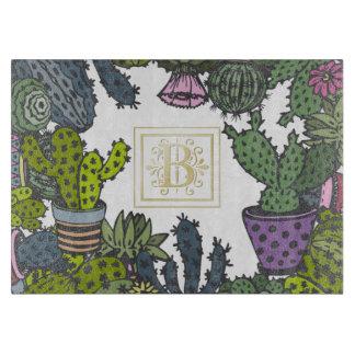 Tabla De Cortar Monograma B del cactus