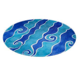 Tabla De Cortar Ondas del azul de la aguamarina