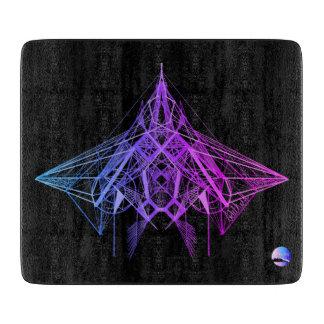 Tabla de cortar púrpura de neón geométrica de