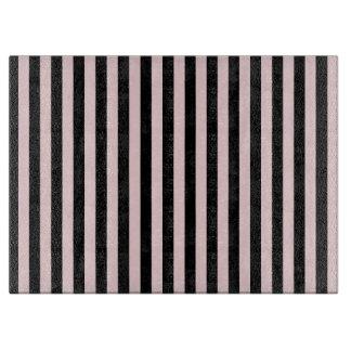 Tabla De Cortar Rayas finas - negras y pálidas - rosa
