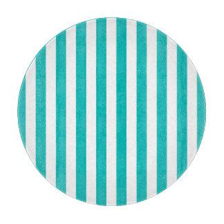 Tabla De Cortar Rayas verticales de la aguamarina