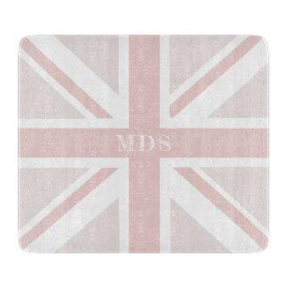 Tabla De Cortar Tajadera de cristal rosada milenaria de Union Jack