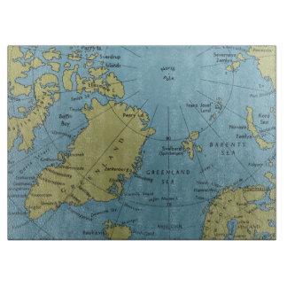 Tabla De Cortar Tajadera del mapa de Polo Norte del vintage