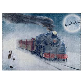 Tabla De Cortar Tren de medianoche del navidad con el chica y