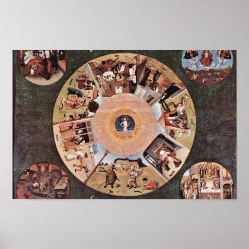 Tabla de los pecados mortales., por Hieronymus Bos Posters