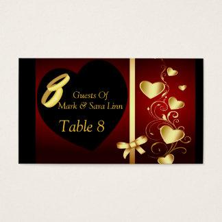 Tabla de oro de los anillos de los corazones del tarjeta de negocios