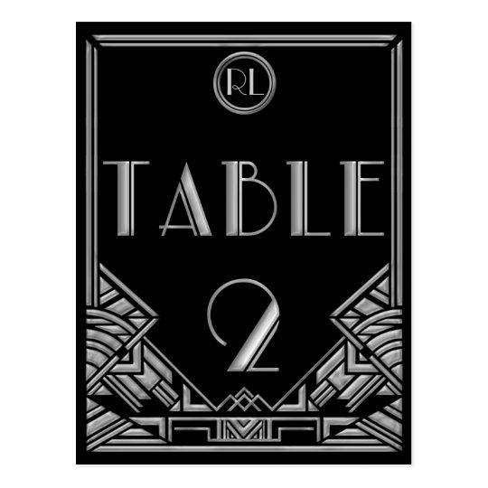 Tabla de plata negra número 2 del estilo de Gatsby Postal