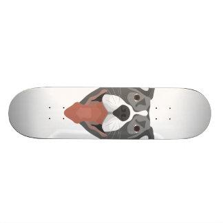 Tabla De Skate Perro Pitbull sonriente del ilustracion