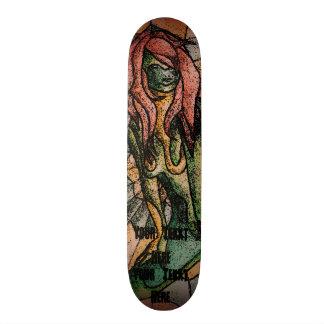 Tabla De Skate señora de presentación verde multicolora del arte