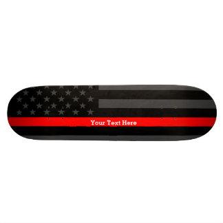 Tabla De Skate Su línea roja fina bandera de encargo del texto de