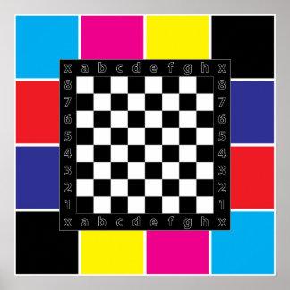 tabla del ajedrez en fondo de CMYK Póster