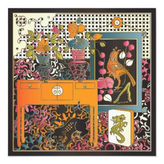 Tabla del naranja del Mah Jongg Invitación 13,3 Cm X 13,3cm