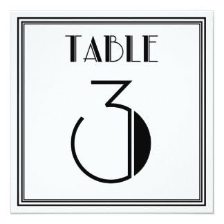 Tabla número 3 del art déco invitación 13,3 cm x 13,3cm