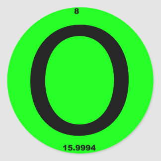 Tabla periódica de la letra O Pegatina Redonda