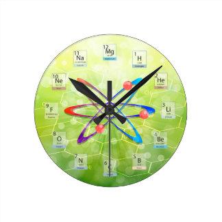 Tabla periódica del átomo de las moléculas en reloj redondo mediano