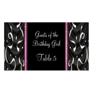 Tabla rosada negra blanca de las flámulas del fies tarjeta de visita
