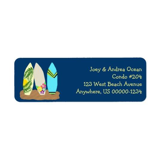 Tablas hawaianas azul marino etiqueta de remite