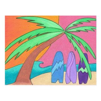 """""""Tablas hawaianas en postal de la puesta del sol"""""""