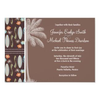 Tablas hawaianas y hibisco tropicales invitación 12,7 x 17,8 cm