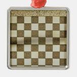Tablero de ajedrez adorno navideño cuadrado de metal