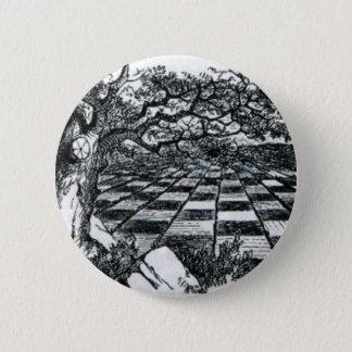 Tablero de ajedrez en el país de las maravillas chapa redonda de 5 cm