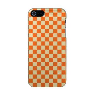 Tablero de damas anaranjado carcasa de iphone 5 incipio feather shine