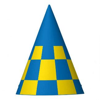 Tablero de damas azul y amarillo - bandera sueca gorro de fiesta