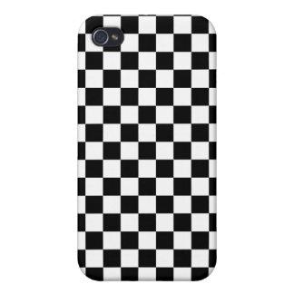 Tablero de damas blanco y negro iPhone 4 carcasa
