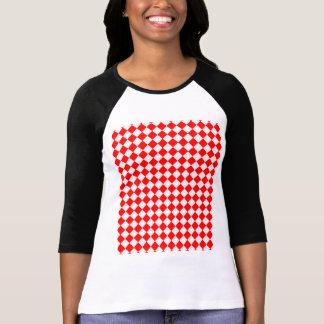 Tablero de damas clásico rojo y blanco camisas