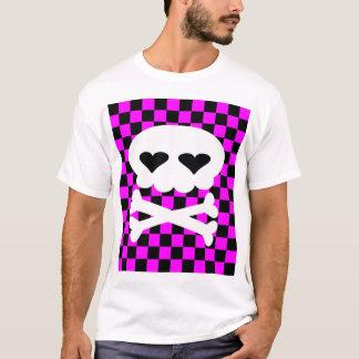 Tablero de damas del cráneo del delirio de Kawaii Camiseta