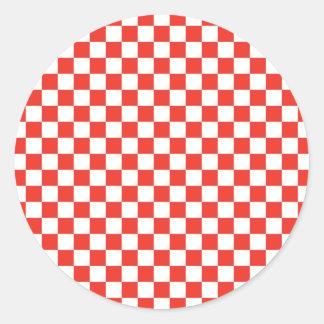 Tablero de damas rojo pegatina redonda