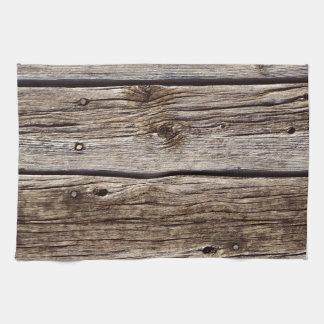 Tablero de madera rústico de la foto resistido re toalla de mano