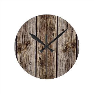 Tablero de madera rústico de la foto, resistido re reloj redondo mediano