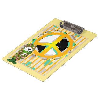 Tablero del DIBUJO ANIMADO de la PAZ del SOLDADO Carpeta De Pinza