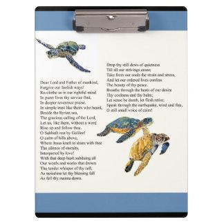Tablero del rezo del poema de la calma de la paz carpeta de pinza