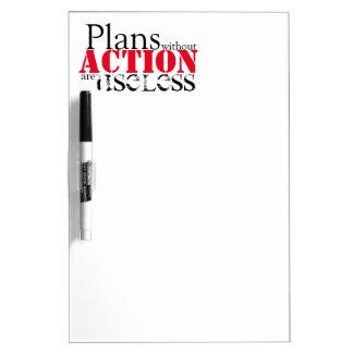Tablero seco del borrado de la acción del plan