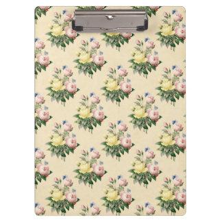 Tablero subió vintage floral del estampado de carpeta de pinza