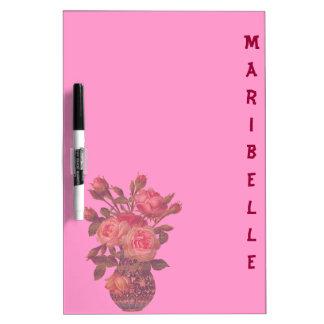 Tablero y flores rosados personalizados lindos del pizarras blancas de calidad