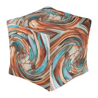 Taburete cubicado azul del arte abstracto del moho